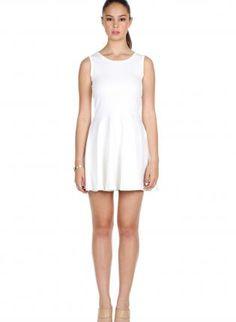 White V-Back Mesh Dress #partydress