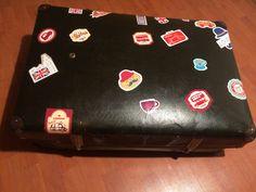 Siyah deri bavul antika  çantası