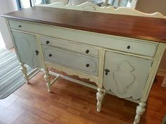 Love the softness of Louis blue... this buffet was finished in old white and Louis blue with a stained top.