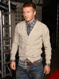 David Beckham Khaki cardigan plaid shirt and tie