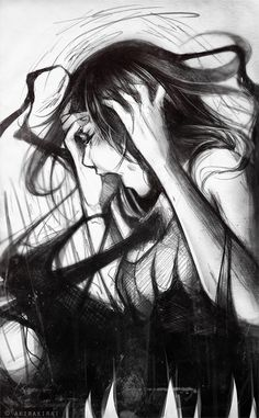 Reflection of Rayne's inner turmoil, something she doesn't let people see. (Anger, frustration by =akirakirai on deviantART) Vampire Knight, Art Sketches, Art Drawings, Depression Art, Arte Obscura, Horror Art, Dark Art, Scream, Art Inspo