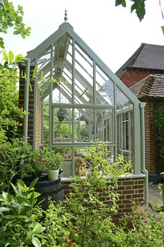 Greenhouse Shed Combo, Lean To Greenhouse, Backyard Greenhouse, Greenhouse Plans, Small Glass Greenhouse, Victorian Greenhouses, Wooden Greenhouses, Victorian Gardens, Glass House Garden