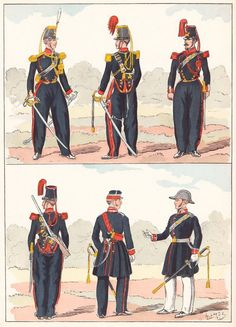 French; Garde Nationale Artillery & Surgeon-Majors, 1848 from Hector Large's Le Costume Militaire Vol III,