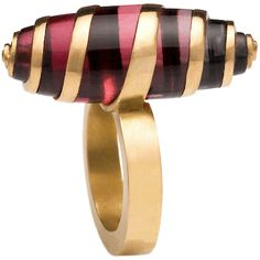 Ring | Charlotte De Syllas. 'Twist'. 22ct red gold, red to blue tourmaline
