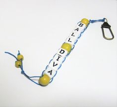 Birdy's Ball Diva Golf Stroke Score Swing Counter Keeper Abacus Beaded Yellow Wood Hemp Alpha Beads by krisybird on Etsy
