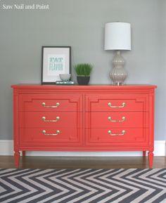 Coral dresser in Sherwin Williams Gladiola