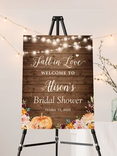 """""""Fall in Love - Rustic Autumn Floral String Lights"""" is one of the most popular theme for the Fall Weddings. We created amazing custom invitation designs offering a fully coordinating wedding suite for this theme from Invitations to RSVP card, Information Card, Labels, Sign Posters and more. Invitation Suite, Invitation Design, Bridal Shower Invitations, Custom Invitations, Shower Foam, Wedding Suite, Bridal Shower Rustic, String Lights, Rustic Wood"""