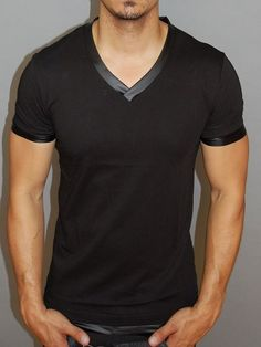 Fashion Find! The real charm of Faux Leather. Slim Fit Black V Neck Faux Leather T-Shirt
