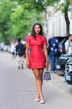 Red dress awesomeness. Structured shift. Hannah Bronfman - Street Style