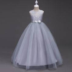 ==> [Free Shipping] Buy Best Evening Gown Dress Wedding Child 4 To 11 Year Kids Flower Girl Lace Beige Whites Gowns Purple Grey Lace Girls Tulle Dresses Long Online with LOWEST Price | 32820872947