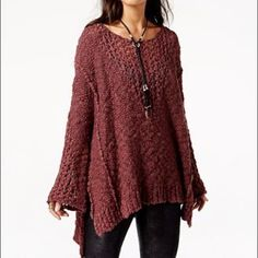NWT FP Pretty Pointelle Vee Sweater NWT FP Pretty Pointelle Vee Sweater in rose glow/Bordeaux colorway. Size xs/s. Brand new no flaws. 100% cotton. Free People Sweaters