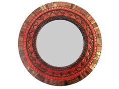 Red Mixed Media Mosaic Mirror / Round Accent by GreenStreetMosaics