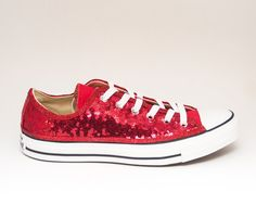b116abc1be68 Red Starlight Sequin Canvas Custom Converse® Low Top Sneakers