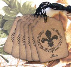 Tags Wreath Fleur de lis Vintage Style Paris Wish by bljgraves, $4.00