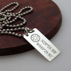 Compass Necklace  Latitude Longitude Necklace  by NadinNecklaces