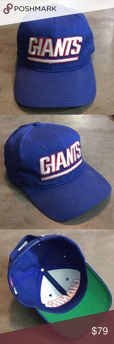 902bd8d49c391 NY Giants Starter Logo Script Baseball SnapBack Vintage Vtg NY Giants logo  text script blockhead stitch
