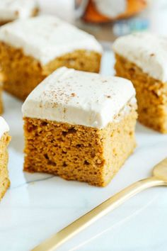 Kick off the fall season with these Healthier Pumpkin Bars with Cream Cheese Frosting that are moist, delicious and taste just like cake, but without any butter or refined sugar! Wow I can't believe