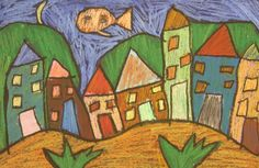 Oil pastel houses inspired by Marc Chagall // Teach Kids Art