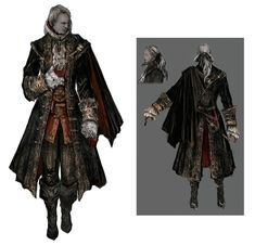 View an image titled 'Male Knight's Attire Art' in our Bloodborne art gallery featuring official character designs, concept art, and promo pictures. Fantasy Character Design, Character Design Inspiration, Character Art, Character Sheet, Bloodborne Concept Art, Bloodborne Art, Fantasy Armor, Dark Fantasy Art, Bloodborne Outfits