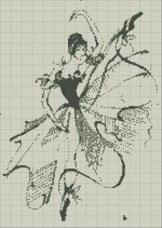 0 point de croix silhouette ballet danseuse - cross stitch