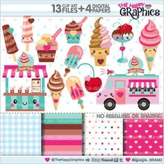 Ice Cream Clipart Ice Cream Graphics by TheHappyGraphics on Etsy