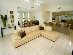 Barstools (definitely not the sofa)! Sofa, Couch, Open Plan Living, Cool Diy, Living Area, Bar Stools, Lounge, Diy Crafts, The Originals