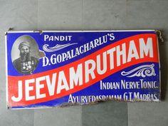 Rare Vintage Jeevamrutham Nerve Tonic Ad Porcelain Enamel Sign Board ADV EHS