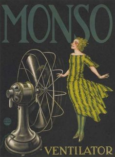 Vintage 1920s Monso Fans French Advertising