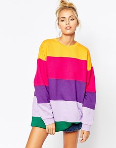Lazy+Oaf+Oversized+Sweatshirt+In+Rainbow+Stripe