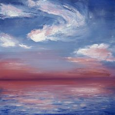"""ARTFINDER: """"Coral Dusk"""" by Katie Jobling - Oil Painting Original // """"Coral Dusk"""" 20 x 20"""" on Canvas by Katie Jobling I adore the colours in this painting and how they work together to bring it to l..."""