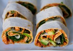 Hummus Spiral Wraps. Roasted Red Pepper Spread, Shredded Carrots, Baby Spinach, Olive Oil, Pepper, Edamame Soy Beans, Avocado Slices. BIG upgrade from the cream chz turkey filled ones!