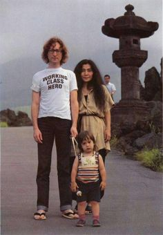 John Lennon and Yoko Ono with their son Sean Lennon