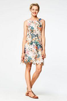 Kanten jurk met geverfd bloemenpatroon Wit