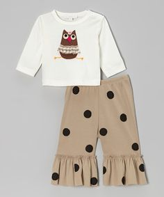 Take a look at this Off-White Owl Top & Khaki Ruffle Pants - Infant, Toddler & Girls on zulily today!