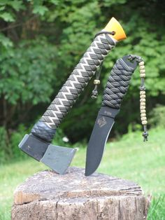 finished paracord handle wrap on hiking staffs, different designs and ideas