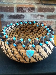 Turquoise and Black Pine Needle Basket by BasketsByCarrie on Etsy, $70.00