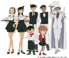 Detective Conan ~ It is awesome to eat on a restaurant with this people around. Magic Kaito, Detective Conan Ran, Kaito Kuroba, Kaito Kid, Detective Conan Wallpapers, Detektif Conan, Kudo Shinichi, Kaichou Wa Maid Sama, Illustrations And Posters