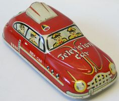 RARE 1950's Japan Vintage Tin Lithographed Friction Red Television Car