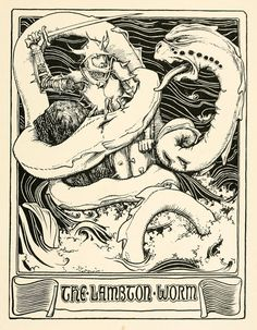 "John D Batten - The Lambton Worm,  illustration from ""More English Fairy Tales"" 1894"