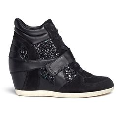 Ash 'Bowie' glitter leather combo concealed wedge sneakers (330 AUD) ❤ liked on Polyvore featuring shoes, sneakers, black, hi top wedge sneakers, glitter sneakers, black leather sneakers, ash sneakers and wedges shoes