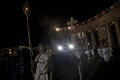 Believers during an Orthodox Easter service in Kazansky Cathedral. Saint Petersurg, Russia