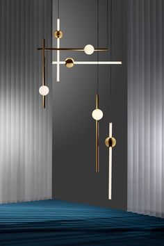 "Orion is composed of modular tubes and spheres that are each available in solid polished gold and tube light options. Broom pairs opposing metal and illuminated components ""to create bespoke constellations of light,"" according to Lee Broom, the designer. Interior Lighting, Home Lighting, Modern Lighting, Lighting Design, Lighting Ideas, Industrial Lighting, Modern Lamps, Industrial Style, Lighting Stores"