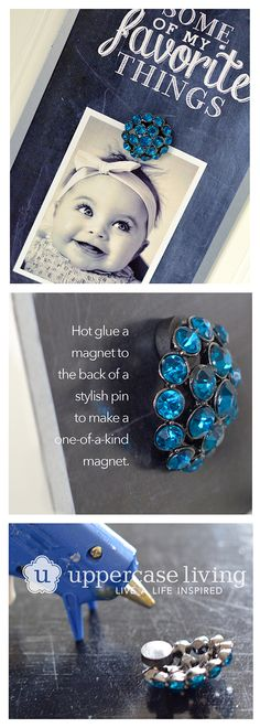 Turn costume jewelry into magnets...perfect for this magnet board (available for $12.95 this month only with qualifying orders). Click to shop online. #uppercaseliving #positivewalls #chalkart #magnet