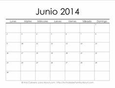 Calendarios 2014 simples para imprimir> Junio #Calendario #Imprimir #Imprimible #Printable