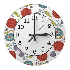 Floral Whimsy Pattern Round Wall Clock