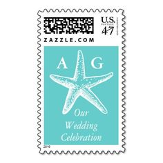 Starfish Beach Monogram Wedding Postage Stamps