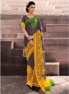 Enigmatic Combination of charcoal grey With Yellow Bhagalpuri #Silk #Saree #clothing #fashion #womenwear #womenapparel #ethnicwear