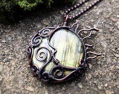 Lunar Necklace ~ Labradorite Pendant ~ Celestial Necklace ~ Wire Wrapped Pendant ~ Sun And Moon Pendant ~ Unique Labradorite Pendant