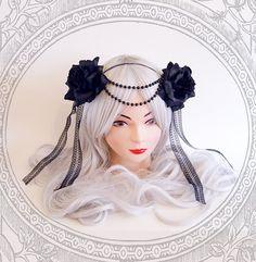 Black Rose Headdress (  Roses, Goth , Fantasy ) by BlackUnicornShop on Etsy https://www.etsy.com/listing/205321831/black-rose-headdress-roses-goth-fantasy