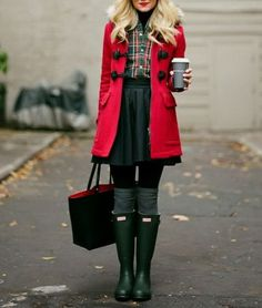 Fall/ winter outfit ideas. Red toggle coat. Hunter boots. Plaid shirt. Rainy day outfit